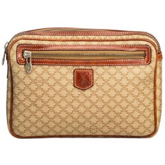 Vintage Authentic Celine Brown PVC Plastic Macadam Clutch Bag France SMALL
