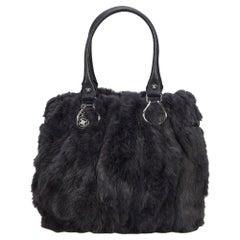 Vintage Authentic Celine Gray Fur Natural Material Tote Bag France LARGE