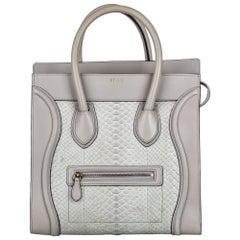 Vintage Authentic Celine Gray Python Leather Medium Luggage Tote Italy MEDIUM