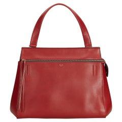 Vintage Authentic Celine Red Leather Large Edge Bag France w Dust Bag LARGE