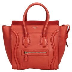 Vintage Authentic Celine Red Leather Luggage Tote Bag France w/ Dust Bag LARGE