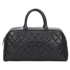 Vintage Authentic Chanel Black Bowling bag France w Authenticity Card LARGE