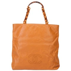 Vintage Authentic Chanel Orange Leather Tote Bag Italy w Dust Bag LARGE