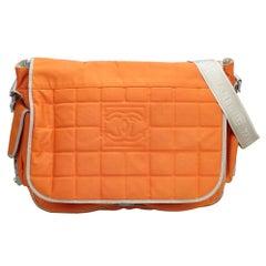 Vintage Authentic Chanel Orange Sports Line Crossbody Bag Italy LARGE