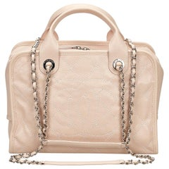 Vintage Authentic Chanel Pink Deauville Bowling Bag France MEDIUM