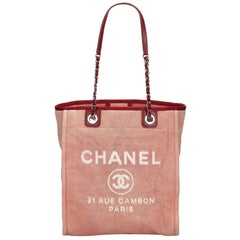 Vintage Authentic Chanel Small Deauville Tote Italy w Authenticity Card SMALL