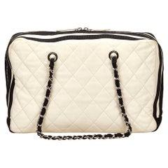 Vintage Authentic Chanel White Ivory Lambskin Leather Shoulder Bag France LARGE