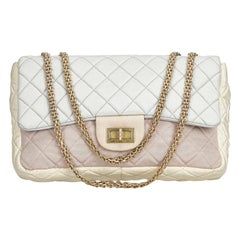 Vintage Authentic Chanel White Reissue Jumbo Flap Bag France w Dust Bag JUMBO