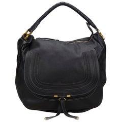 Vintage Authentic Chloe Black Leather Marcie Hobo Bag Italy LARGE