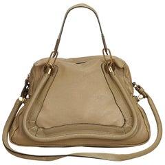 Vintage Authentic Chloe Brown Beige Leather Paraty Satchel France MEDIUM