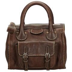 Vintage Authentic Chloe Brown Dark Brown Leather Edith Handbag France MEDIUM