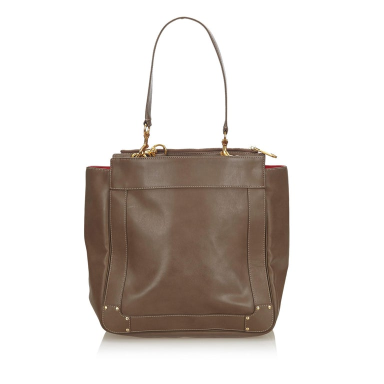 Vintage Authentic Chloe Brown Leather Eden Tote Bag BULGARIA LARGE  In Good Condition For Sale In Orlando, FL