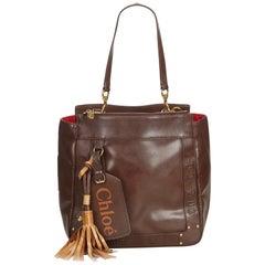 Vintage Authentic Chloe Brown Leather Eden Tote Bag BULGARIA w Dust Bag LARGE