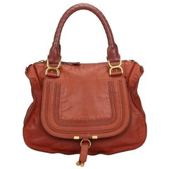 Vintage Authentic Chloe Brown Leather Marcie Handbag Italy LARGE