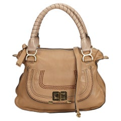 Vintage Authentic Chloe Brown Leather Marcie Satchel Italy w Dust Bag MEDIUM