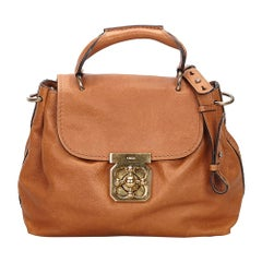 Vintage Authentic Chloe Brown Light Brown Leather Elsie Satchel HUNGARY MEDIUM