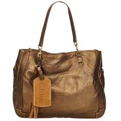 Vintage Authentic Chloe Leather Metallic Eden Tote Bag France w Dust Bag LARGE