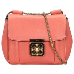 Vintage Authentic Chloe Pink Leather Elsie Shoulder Bag ITALY SMALL