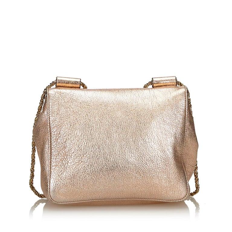 bf4b32ee Vintage Authentic Chloe Pink Leather Metallic Elsie Crossbody Bag Italy  SMALL