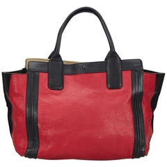Vintage Authentic Chloe Red Leather Alison Tote France w Dust Bag LARGE