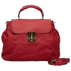 Vintage Authentic Chloe Red Leather Elsie Satchel Hungary MEDIUM