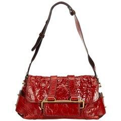 Vintage Authentic Chloe Red Leather Shoulder Bag France w/ Dust Bag MEDIUM
