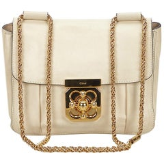 Vintage Authentic Chloe White Ivory Leather Elsie Crossbody Bag France SMALL