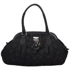 Vintage Authentic Dior Black Cannage Lovely Shoulder Bag Italy MEDIUM