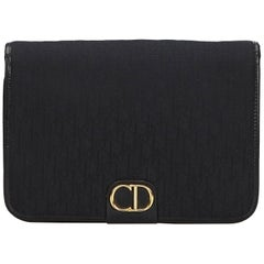 Vintage Authentic Dior Black Canvas Fabric Dior Oblique Clutch Bag France SMALL