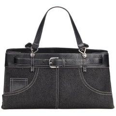 Vintage Authentic Dior Black Denim Fabric Handbag Italy LARGE