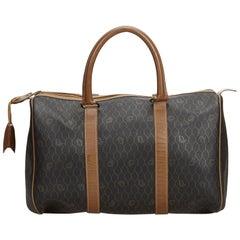 Vintage Authentic Dior Black Honeycomb Boston Bag France LARGE