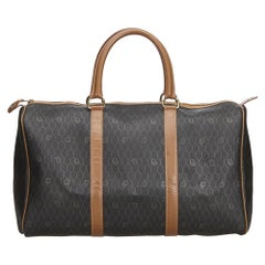 Vintage Authentic Dior Black Honeycomb Duffle Bag France LARGE