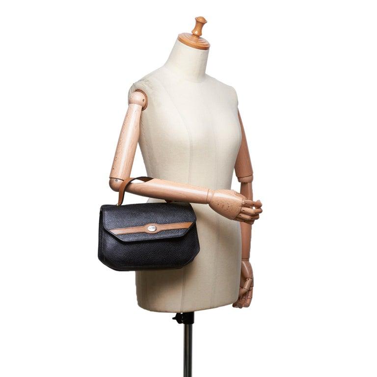 Vintage Authentic Dior Black Leather Handbag France MEDIUM  For Sale 6