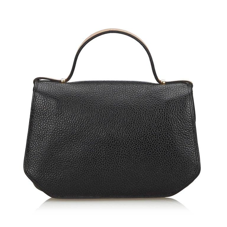 Vintage Authentic Dior Black Leather Handbag France MEDIUM  In Good Condition For Sale In Orlando, FL
