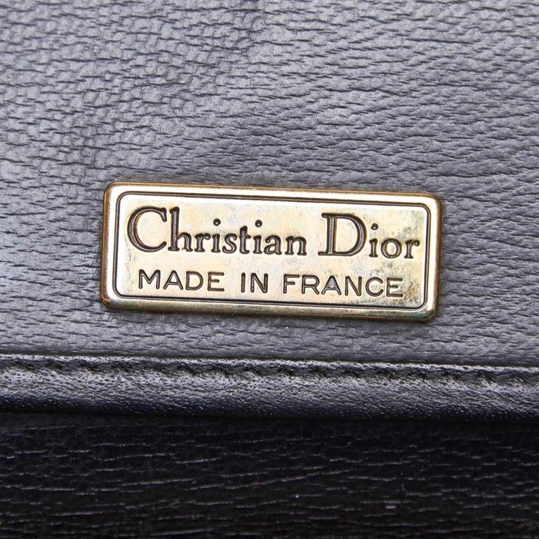 Vintage Authentic Dior Black Leather Handbag France MEDIUM  For Sale 2