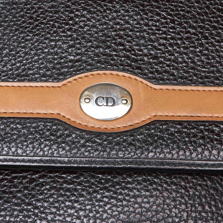 Vintage Authentic Dior Black Leather Handbag France MEDIUM  For Sale 3