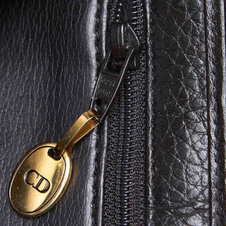 Vintage Authentic Dior Black Leather Handbag France MEDIUM  For Sale 4