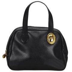 Vintage Authentic Dior Black Leather Handbag France MEDIUM