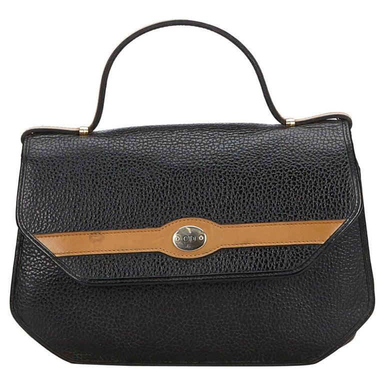 Vintage Authentic Dior Black Leather Handbag France MEDIUM  For Sale