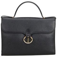 Vintage Authentic Dior Black Leather Handbag France w/ Dust Bag MEDIUM