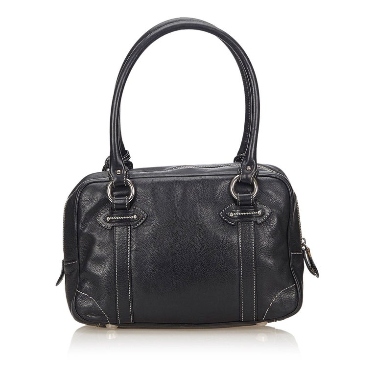 Vintage Authentic Dior Black Leather Handbag Italy w/ Key MEDIUM  In Good Condition For Sale In Orlando, FL