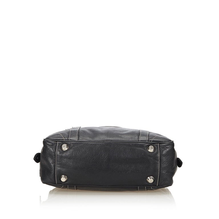 Women's Vintage Authentic Dior Black Leather Handbag Italy w/ Key MEDIUM  For Sale