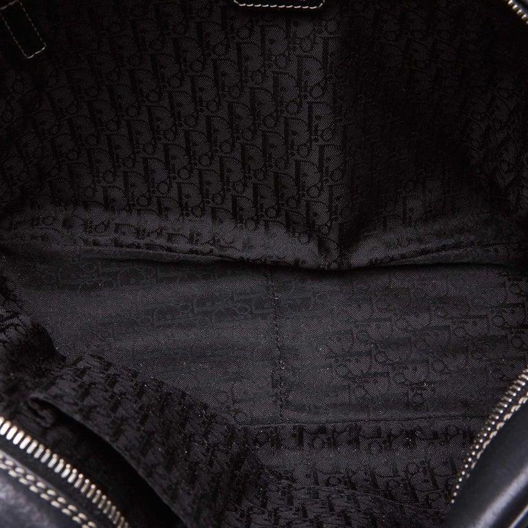 Vintage Authentic Dior Black Leather Handbag Italy w/ Key MEDIUM  For Sale 1