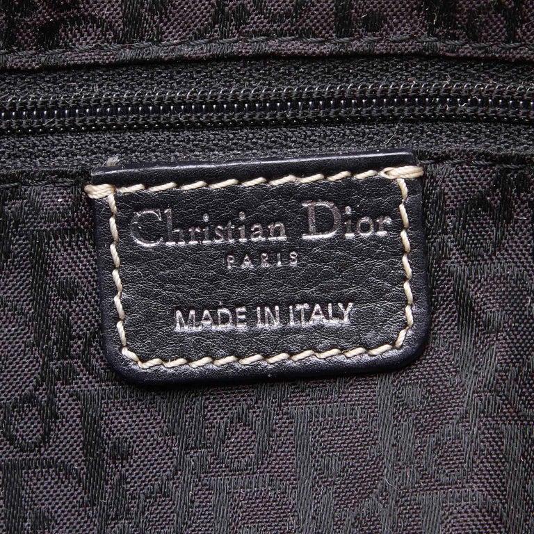Vintage Authentic Dior Black Leather Handbag Italy w/ Key MEDIUM  For Sale 3