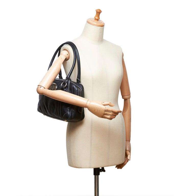 Vintage Authentic Dior Black Leather Handbag Italy w/ Key MEDIUM  For Sale 5