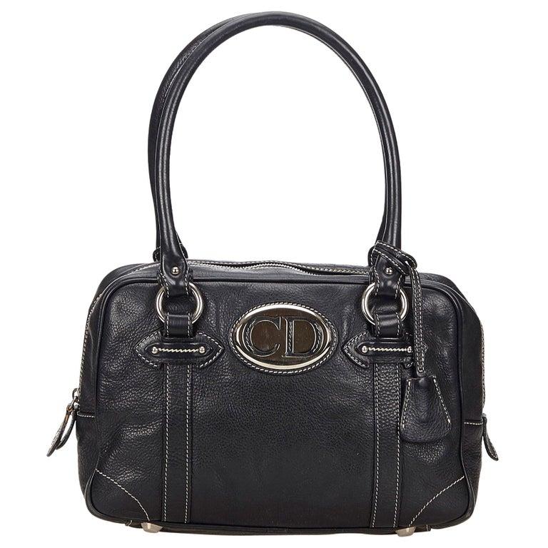 Vintage Authentic Dior Black Leather Handbag Italy w/ Key MEDIUM  For Sale