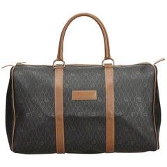 Vintage Authentic Dior Black Leather Honeycomb Duffle Bag France LARGE