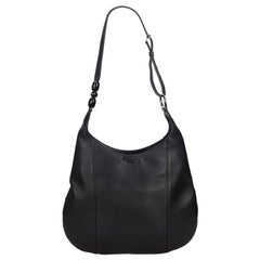 Vintage Authentic Dior Black Leather Malice Pearl Hobo Bag France LARGE