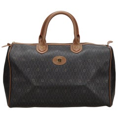 Vintage Authentic Dior Black Light Honeycomb Duffle Bag France LARGE