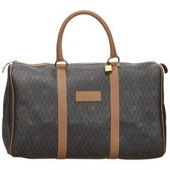 Vintage Authentic Dior Black Light Honeycomb Duffle Bag France w Padlock LARGE
